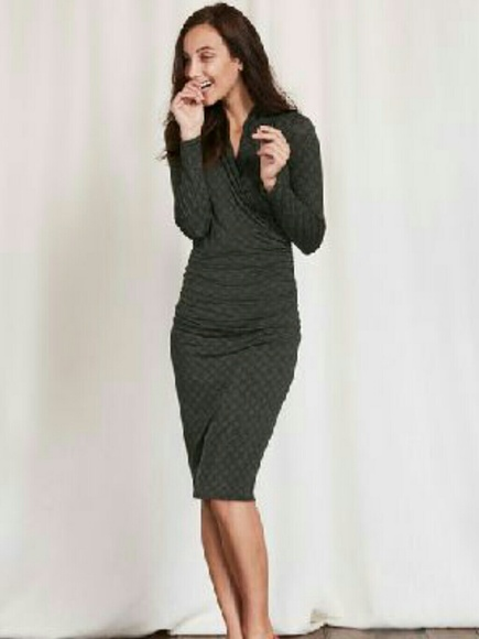 b93906e76ae Boden Dresses   Skirts - Boden charcoal knit wrap dress with black dots